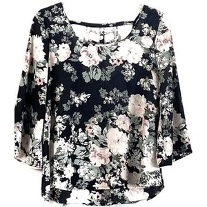 Lily White Floral Strappy Back Bell Sleeve Blouse